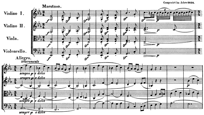 Beethoven, string quartet op.127, mvt.1, score sample