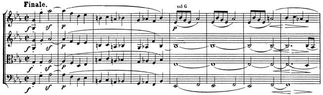 Beethoven, string quartet op.127, mvt.4, score sample, Finale