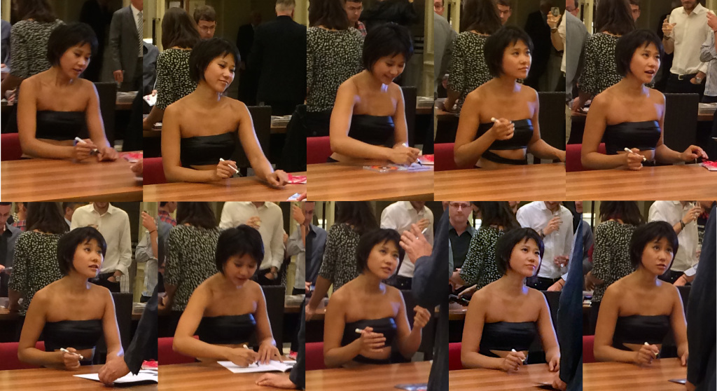 Yuja Wang, signing CDs during the concert break, 2014-09-11
