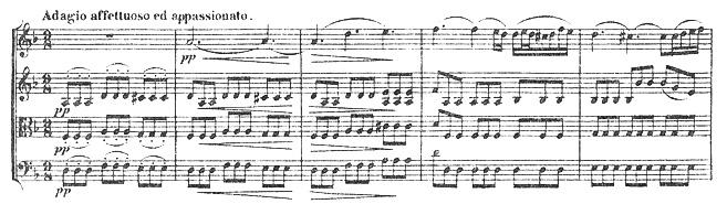Beethoven, string quartet op.18/1, mvt.2, score sample