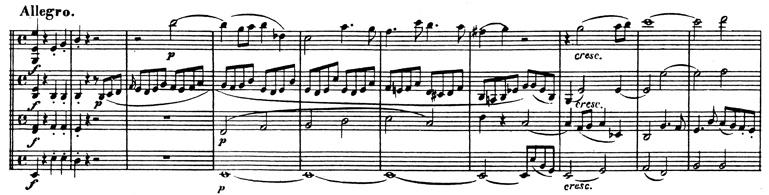 Beethoven, string quartet op.74, mvt.1, score sample, Allegro