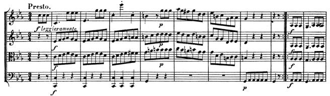 Beethoven, string quartet op.74, mvt.3, score sample, Presto
