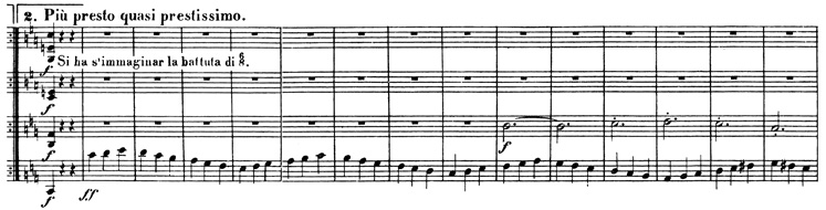 Beethoven, string quartet op.74, mvt.3, score sample, Più presto quasi prestissimo