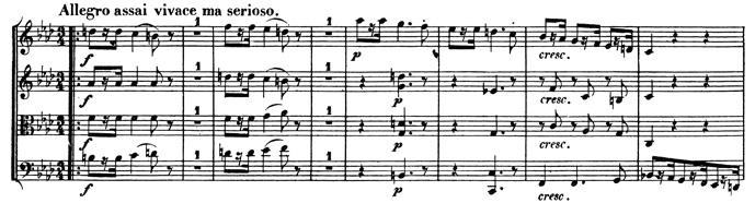 Beethoven, string quartet op.95, mvt.3, score sample, Allegro assai vivace ma serioso