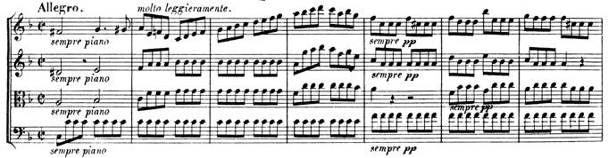 Beethoven, string quartet op.95, mvt.4, score sample, Allegro
