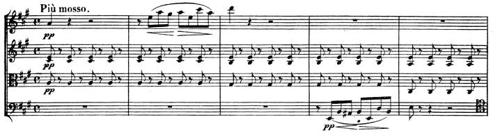 Beethoven, string quartet op.131, mvt.4, score sample, Più mosso