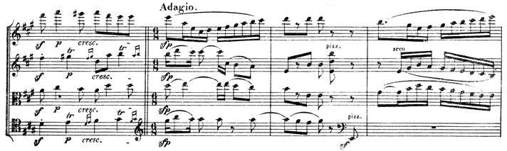 Beethoven, string quartet op.131, mvt.4, score sample, Adagio
