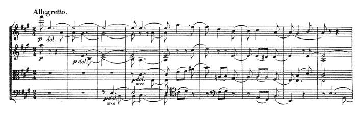 Beethoven, string quartet op.131, mvt.4, score sample, Allegretto