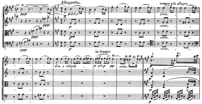 Beethoven, string quartet op.131, mvt.4, score sample, Allegretto II