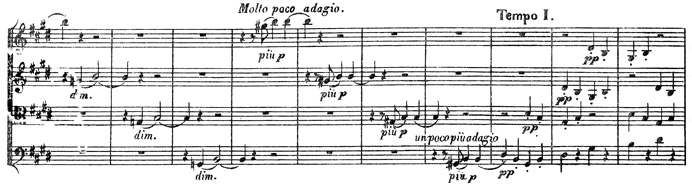 Beethoven, string quartet op.131, mvt.5, score sample, Molto poco adagio
