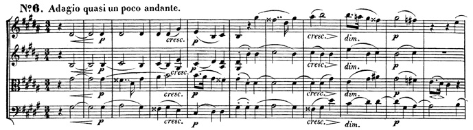 Beethoven, string quartet op.131, mvt.6, score sample