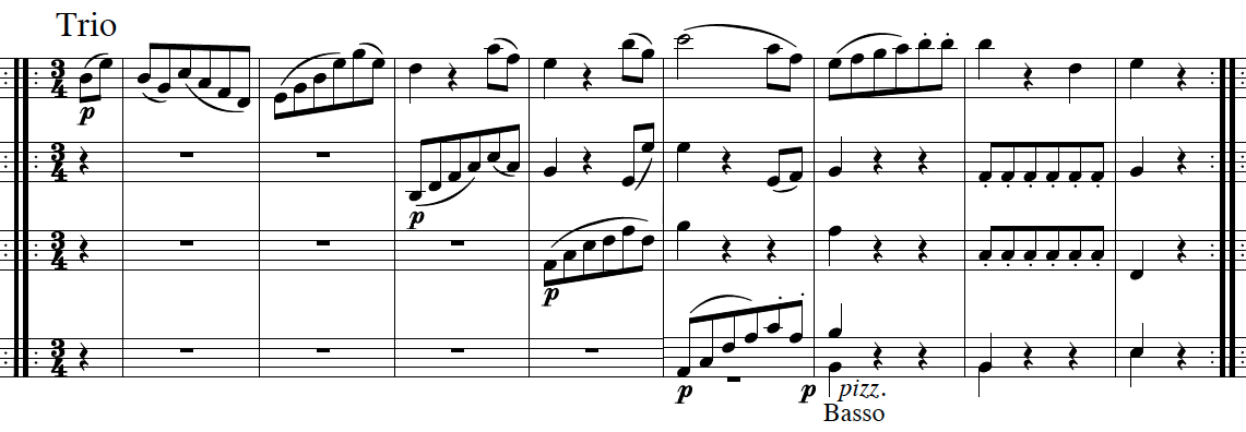 Haydn, Symphony No.103, score sample, mvt.3, Trio