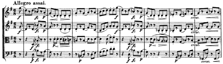 Schubert, String Quartet No.15 in G, D.884, score sample, mvt.IV