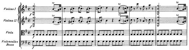Mozart: Symphony in G major, KV 129, score sample: movement #1