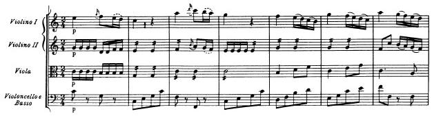 Mozart: Symphony in G major, KV 129, score sample: movement #2, beginning