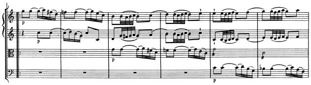 Mozart: Symphony in G major, KV 129, score sample: movement #2, part II