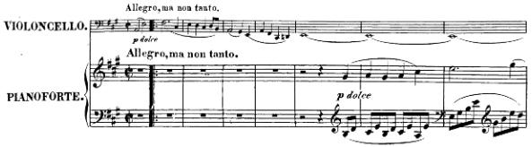 Beethoven, Cello Sonata in A major, op.69; score sample: movement I, Intro
