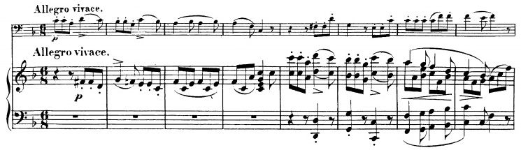 Beethoven, Cello Sonata in F major, op.5/1; score sample: movement 3, beginning