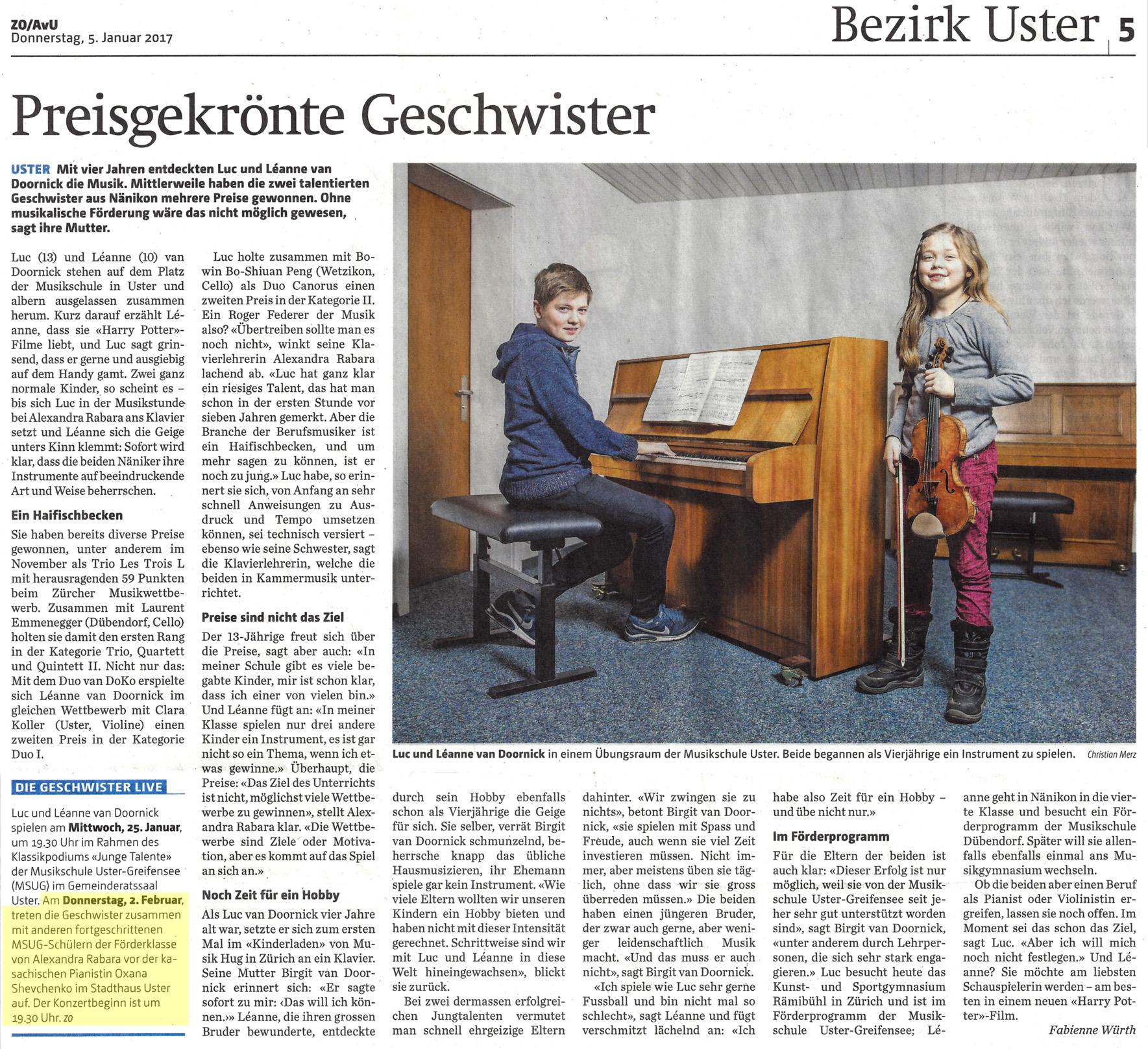 Newspaper Article, Anzeiger von Uster, 2017-01-05