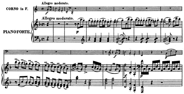 Beethoven, Sonata for Piano and Horn/Cello in F major, op.17; score sample: movement 1, Allegro moderato