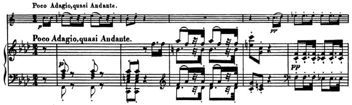 Beethoven, Sonata for Piano and Horn/Cello in F major, op.17; score sample: movement 2, Poco Adagio, quasi Andante