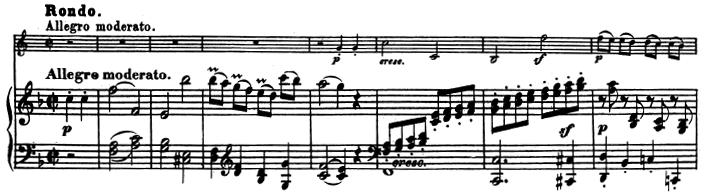 Beethoven, Sonata for Piano and Horn/Cello in F major, op.17; score sample: movement 3, Rondo: Allegro moderato